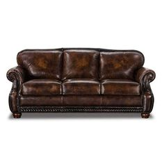 American Furniture Warehouse    Virtual Store    Vintage Brown Leather Sofa