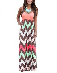 24852d64358 Yidarton Womens Wave Striped Summer Beach Dress Party Long Maxi Dresses  Rose XXLarge     You can get more details by clicking on the image.
