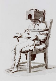 The tranquilizing chair of Benjamin Rush. A mental patient is strapped into a chair with a box-like apparatus is used to confine the head, and a bucket toilet attached beneath the seat. Rush believed insanity was an inflammation of the brain related to blood flow. The immobilizing chair was supposed to reduce blood flow, hence tranquilizing the patient.
