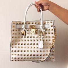 White Studded Michael Kors Hamilton bag Optic white, great condition! Michael Kors Bags Totes