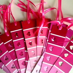 DIY Valentine's Day Keepsake bookmarks made from paint chips! - Not just for valentines day - paint chips can be punched with many shapes - make garlands - etc. Homemade Valentines, Valentines Day Party, Valentine Day Crafts, Be My Valentine, Holiday Crafts, Fun Crafts, Crafts For Kids, Paper Crafts, Valentine Ideas