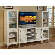 Bermuda Brushed White 3PC Entertainment Center