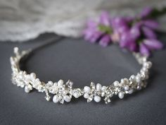 ELVINA, Bridal Headband, Freshwater Pearl and Rhinestone Bridal Headband, Crystal Wedding Headband, Wedding Bridal Hair Accessories. $79.00, via Etsy.