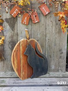 Wood Halloween pumpkin & black cat porch decor