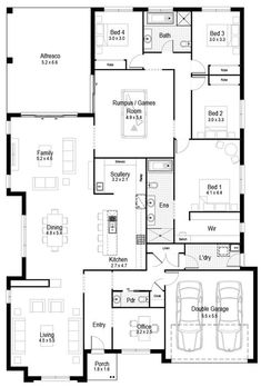 Floor Plan Friday: Large 4 bedroom, rumpus, scullery + office family home Hi there! It's Friday again and here is this week's floor plan. I think this is a pretty good family floor plan. It's large with. House Layout Plans, New House Plans, Dream House Plans, House Layouts, House Floor Plans, Living Room Floor Plans, Floor Plan 4 Bedroom, 4 Bedroom House Plans, Living Room Flooring