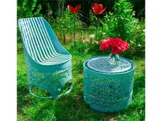 Lace and barrels in furniture  with upcycled furniture Recycled Art Metal Handcrafted Barrel