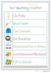 Back to School Routine Chart  http://www.stockpilingmoms.com/2012/08/pinterest-daily-pin-back-to-school-routine-chart/
