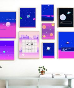 Space in the style of pixels planet abstract aesthetic home children living room bedroom decoration poster with print picture wall painting canvas art Kids Living Rooms, Living Room Art, Canvas Wall Decor, Canvas Art, Painting Canvas, Planet Painting, Types Of Art Styles, Space Planets, Cheap Paintings
