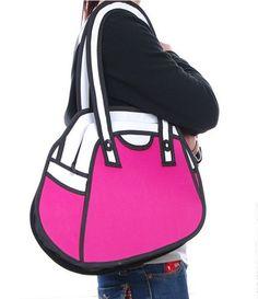 Stiksels & Stijl - 2D tas. Lijkt plat, maar je kan hem uit ritsen aan de onderkant tot 8cm diep, zodat er genoeg spullen in kunnen. www.stiksels.com
