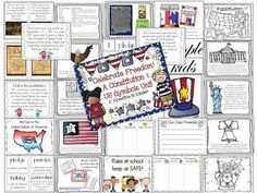 Celebrate Freedom Constitution & US Symbols Unit! This is a 59-page unit that teaches primary students about the constitution, the United States flag, pledge, US symbols, and the importance of rules, celebrations, symbols, and freedom. $