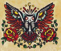 Dia De Los Muertos Cross Stitch kit 'Owl' By Illustrated Ink. - Modern tattoo cross stitch, counted cross stitch