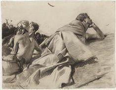 Reclining Figures (David in Saul's Camp), John Singer Sargent, American, Dimensions: x 62 cm x 24 in.), Charcoal on paper Figure Painting, Figure Drawing, Drawing Reference, Paint Background, Art For Art Sake, Museum Of Fine Arts, Life Drawing, American Artists, Great Artists