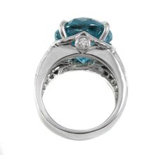 Electric Blue Zircon White Gold Diamond Ring at 1stdibs
