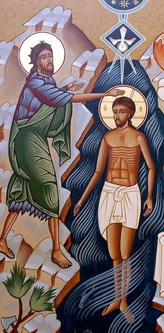 El Bautismo de Jesús en el Jordán Religious Icons, Religious Art, Byzantine Icons, John The Baptist, Art Icon, Orthodox Icons, Sacred Art, Christian Art, Sagrada Familia