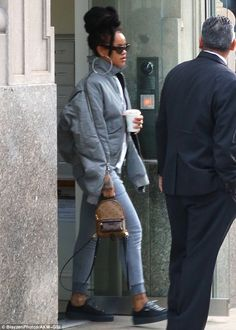 Make it monogram with Rihanna's Louis Vuitton backpack. Click 'Visit' to buy now. #DailyMail