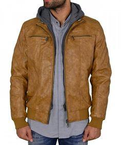 2c2ee311a507 Ανδρικό μπουφάν δερματίνη ταμπά με αποσπώμενη κουκούλα GP1716 Leather  Jacket