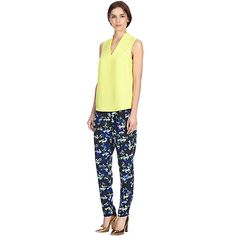 Buy Warehouse Blurred Floral Soft Peg Trousers, Navy/Multi Online at johnlewis.com
