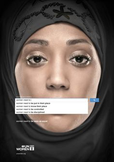 An ad campaign from UN Woman uses search terms from Google to show how gender inequality is a problem worldwide.
