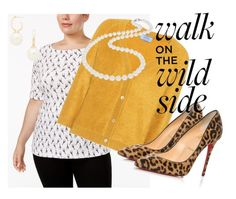 """""""Walk on the Wild Side"""" by audreyhwallace on Polyvore featuring Karen Scott, Prada, Kenneth Jay Lane, Christian Louboutin, Nadri and plus size clothing"""