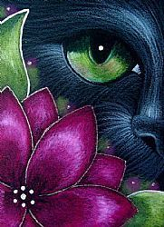 Art: BLACK CAT MAGENTA FLOWER by Artist Cyra R. Cancel