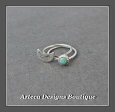Teeny Tiny Open Hoops Turquoise Moon Sterling Silver Artisan Earrings  by AztecaDesignsBoutique, $32.00 USD