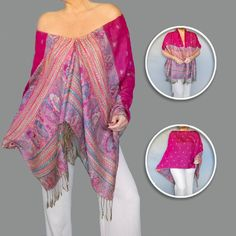 Fuchsia Shawl Wrap : Women's Gypsy Clothing : Bright Pink Poncho By ZiiCi. This fuchsia shawl is luxury and comfort all in one. ZiiCi shawls feature a unique adjustable elastic neckline with a cord lock that can be resized to wear different ways: as a scarf, shawl, poncho, evening wrap and much more. There's no tying or pinning required. COLOR: This hot pink shawl features multi color stripes and a paisley print. STANDARD SIZE (pictured): It is sewn together in the middle for a few inches...