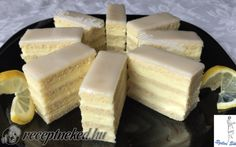 Citrom szelet recept fotóval Party Catering, Catering Food, Wedding Catering, Hungarian Cake, Hungarian Recipes, My Recipes, Cake Recipes, European Cuisine, Food Cakes