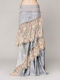 $400 @FreePeople.com; Limited Edition; denim & crochet; wrap skirt w/frayed edges & 2-button closure