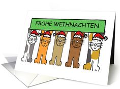 Cartoon Cats Happy Christmas Frohe Weihnachten in German. card