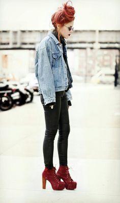 Luanna Perez leather pants, denim jacket burgundy platgorms outfit<3