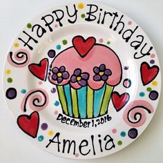 Personalised Birthday Plate confetti party swirls and flowers cupcake handmade by Artzfolk or 10 Birthday Cake, Birthday Party Snacks, Birthday Plate, Adult Birthday Party, Birthday Diy, Pottery Painting Designs, Pottery Art, Painted Pottery, Pottery Studio