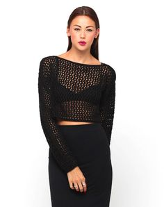 Sofia Loose Knit Cropped Sweater in Black