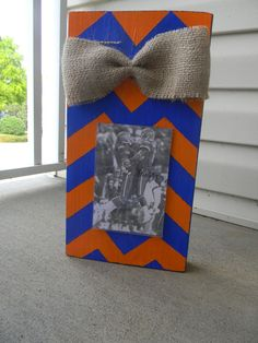 Blue and Orange Striped Wood Photo Frame w/ Burlap Bow