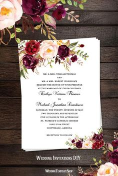 Printable Wedding Invitation Romantic Blossoms Burgundy Red Blush Pink Marsala