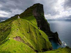 Faroe Islands - Kallur lighthouse - dwarfed by Tolkienian landscape