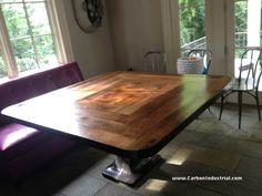 Reclaimed oak top with basket weave pattern in the oak boards. Custom made by Carbon Industrial.