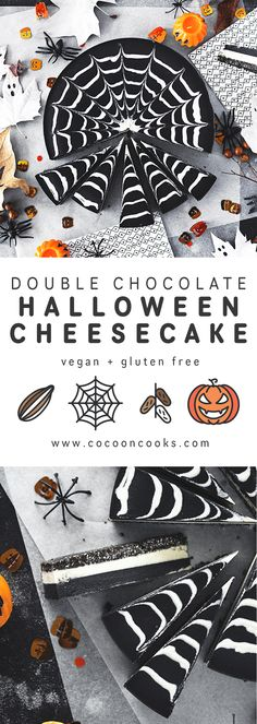 Fright and delight all the guests at your Halloween party with this raw #vegan Double Chocolate Cheesecake! Made with healthy ingredients and natural sweeteners. #recipe
