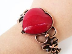 Red Agate Heart Copper Cuff Bracelet by TheTimaCollection on Etsy