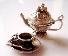 Large Vintage Silver Teapot and Teacup Charms by TrueVintageUK