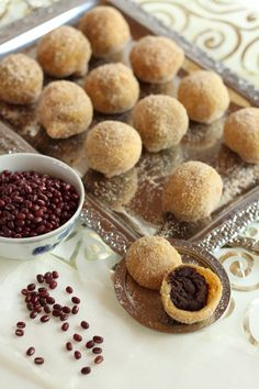 Sweet, chewy, doughnut balls filled with sweet red beans (Chapssal doughnuts) recipe - Maangchi.com