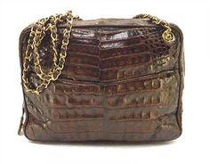 RARE-CHANEL-Vintage-Dark-Brown-Crocodile-Leather-Gold-Chain-Tote-Shoulder-Bag