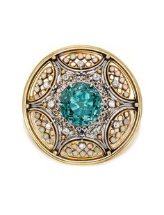 Gold, Platinum, Tourmaline, Opal and Diamond Brooch, Tiffany & Co., Designed by Louis Comfort Tiffany with Meta Overbeck - circa 1910.