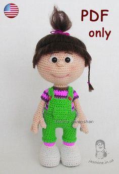 Little baby girl crochet doll PDF pattern by jasminetoys on Etsy