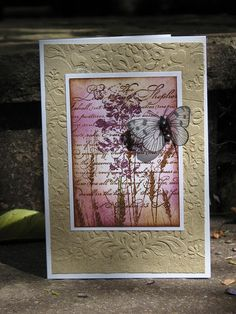 The Lord is my shepperd sympathy card    stamps: real salvia by Hero Arts, butterfly and wheat: Hero Arts,  psalm: stampabilities  colors: ink tim holtz (seasonal distress autumn)  embossing: cuttlebug