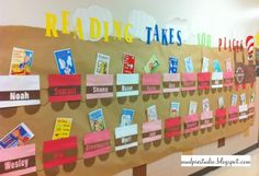 Outside classroom bulletin board for next year? And other great bulletin board ideas. Train Bulletin Boards, Dr Seuss Bulletin Board, Elementary Bulletin Boards, Bulletin Board Design, Bulletin Board Paper, Reading Bulletin Boards, Bulletin Board Display, Classroom Bulletin Boards, Elementary Schools
