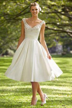 2013 Wedding Dresses A Line V Neck Tea Length Taffeta Beading & Sequins USD 169.39 LDP9LHAET5 - LovingDresses.com