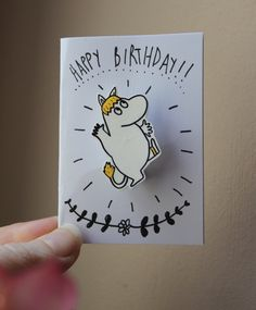 £6.50 The Moomins Greetings Bithday Card - Moomin Snorkmaiden & badge THE WISHBONE COLLECTIVE www.thewishbonecollection.com Handmade & Hand-illustrated fashion jewellery jewelry accessories. Unique - Quirky - Alternative - Indie - Kitsch - Kawaii - Cute - Jewelry - Geek - Geekery - Craft