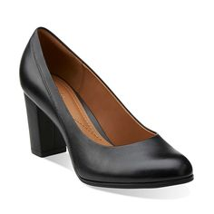 Basil Auburn in Black Leather - Womens Shoes from Clarks