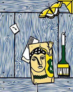 Trompe l'oeil with Léger head and paintbrush, 1973, Roy Lichtenstein