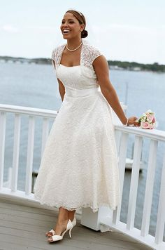 Looking for plus size bridal wear that won't break the bank? Then look no further! Since my last hub on plus size wedding gowns I've continued my hunt for stylish plus size bridal wear which can be ordered online. All the plus size wedding dresses. Wedding Robe, Lace Wedding Dress, Tea Length Wedding Dress, Tea Length Dresses, Plus Size Dresses, Bridal Lace, Wedding Dressses, Bridal Style, Vows Bridal